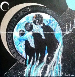 toile acrylique Le chant du Loup 30x30 cm - 100€