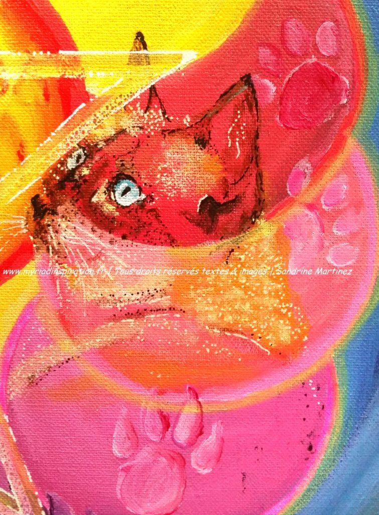 toile acrylique harmonie du foyer animal totem chat Myriadinspiration