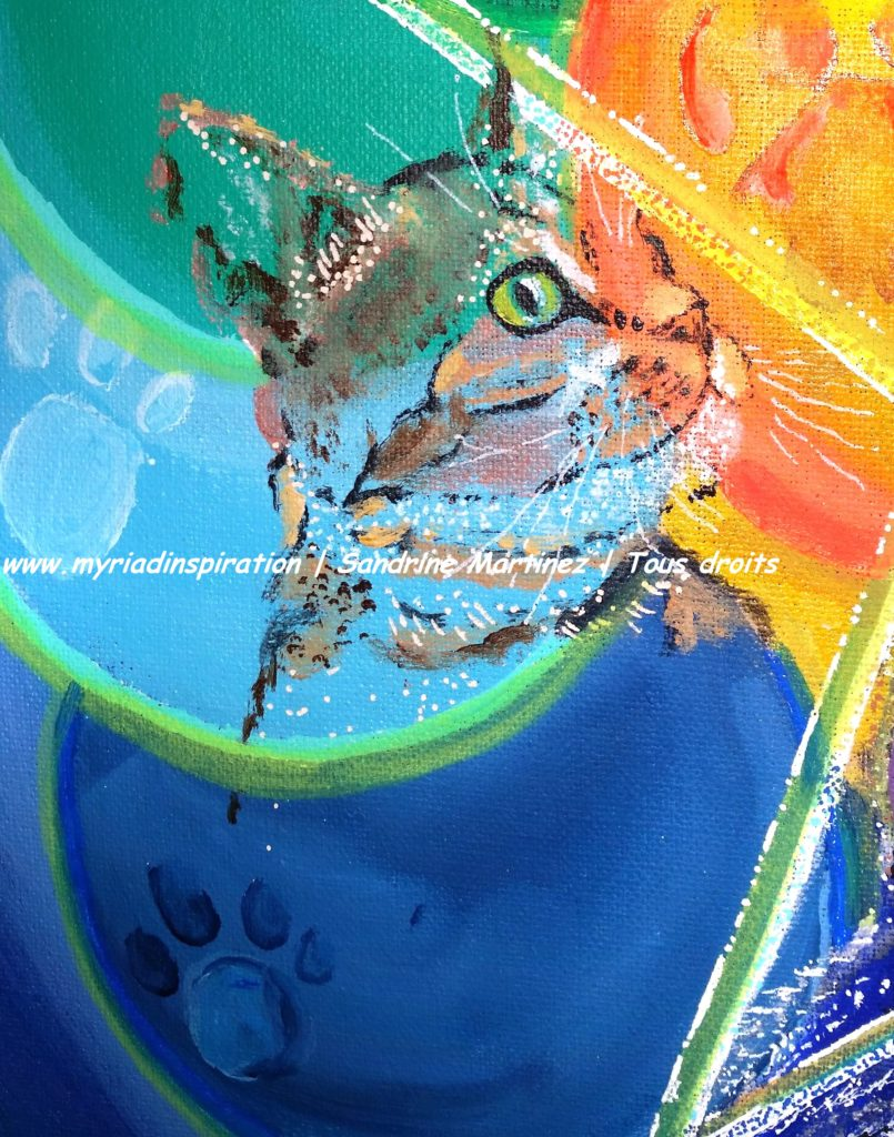 toile acrylique harmonie du foyer animal totem chat Myriadinspiration