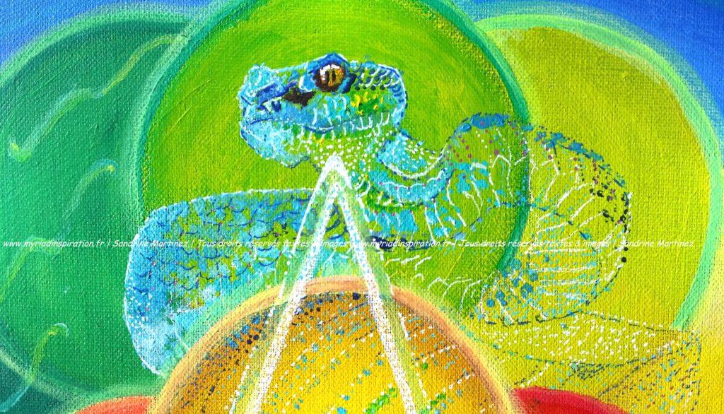 toile acrylique harmonie du foyer animal totem serpent Myriadinspiration