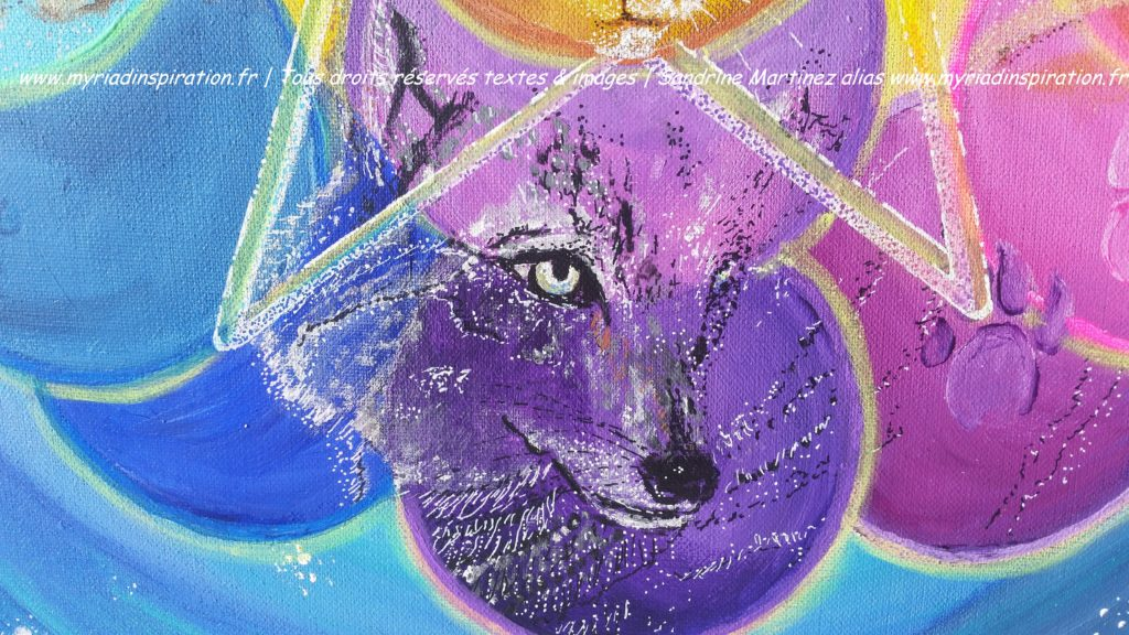 toile acrylique harmonie du foyer animal totem loup Myriadinspiration